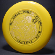 Sky-Styler 1981 Texas Flying Disc Festival Yellow w/ Black Matte and Metallic Gold Top View