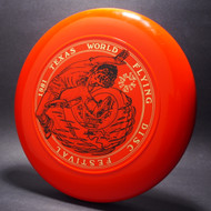 Sky-Styler 1981 Texas Flying Disc Festival Orange w/ Metallic Gold and Black Matte Top View