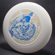 Sky-Styler 1981 Texas Flying Disc Festival White w/ Metallic Gold and Blue Top View