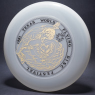 ky-Styler 1981 Texas Flying Disc Festival Clear w/ Black Matte and Metallic Gold Top View