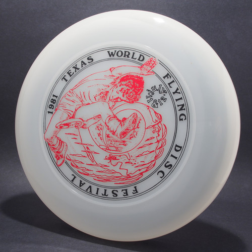 Sky-Styler 1981 Texas Flying Disc Festival Clear w/ Black Matte and Metallic Red Top View