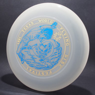 Sky-Styler 1981 Texas Flying Disc Festival Clear w/ Metallic Gold and Blue Top View