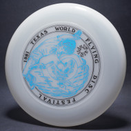 Sky-Styler 1981 Texas Flying Disc Festival Clear w/ Black and Blue Matte Top View