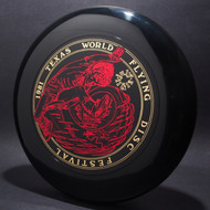 Sky-Styler 1981 Texas Flying Disc Festival Black w/ Metallic Gold and Red Top View