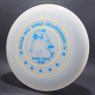 Sky-Styler 1981 Santa Cruz World Flying Disc Championships IV Clear w/ Metallic Gold and Blue Top View