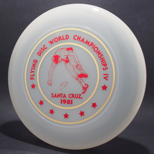 Sky-Styler 1981 Santa Cruz World Flying Disc Championships IV Clear w/ Metallic Gold and Red Top View