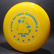 Sky-Styler 1981 Santa Cruz World Flying Disc Championships IV Yellow w/ Metallic Gold and Blue Top View