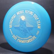 Sky-Styler Bridgeport Mobil Flying Disc Team Blue w/ Metallic Gold and Blue Matte - T80 - Top View