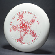 Sky-Styler Grateful Disc, Skeletons and Rose White w/ Red Matte - Double Stamped - TR - Top View