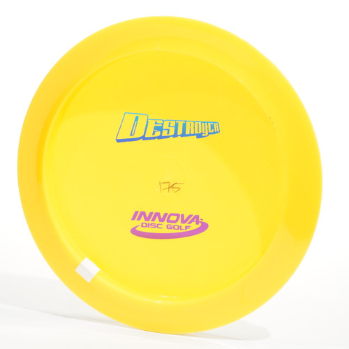 Bottom view of yellow disc against white background. The Destroyer stamp is blue and the Innova stamp is pink.