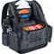 Dynamic Discs Commander Cooler Backpack Disc Golf Bag -  Graphite Hex color. Shows angled front view of a  fully-loaded bag with full capacity of discs, putters in the upper pockets and water bottles in the side compartments.