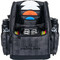 Dynamic Discs Commander Cooler Backpack Disc Golf Bag -  Graphite Hex color. Shows front view of a fully-loaded bag with full capacity of discs plus a six pack in cooler pouch, putters in the upper pockets and water bottles in the side compartments.