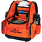 Dynamic Discs Commander Cooler Backpack Disc Golf Bag -  Infrared Orange color. Shows angled front view of a fully-loaded bag with full capacity of discs plus a six pack in cooler pouch, putters in the upper pockets and water bottles in the side compartments.