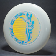 Sky-Styler Ventura Flying Disc Festival Clear w/ Yellow Matte and Metallic Blue - T2000s - Top View