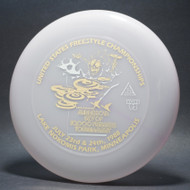 Sky-Styler 12th Annual Minnesota Sky of 10,000 Frisbees US Freestyle Championships Clear/pink w/ Metallic Gold and Silver - T80 - Top View