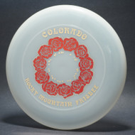 Sky-Styler 82 Colorado Rocky Mountain Frisbee Clear w/ Metallic Red and Gold - NT - Top View