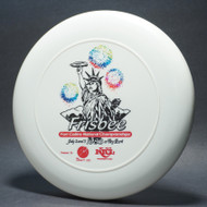 Sky-Styler 1983 Frisbee Fort Collins National Championships White w/ Multi-Color Fireworks, Black and Red Matte - T80 - Top View