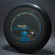 Sky-Styler Grateful Disc 1988 10th Spring Frisbee Festival Black w/ Metallic Gold and Blue - T80 - Top View