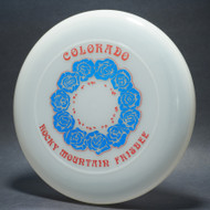 Sky-Styler 82 Colorado Rocky Mountain Frisbee Clear w/ Metallic Blue Roses and Red Metallic Print - NT - Top View