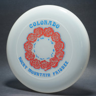 Sky-Styler 82 Colorado Rocky Mountain Frisbee Clear w/ Metallic Red Roses and Blue Metallic Print - NT - Top View