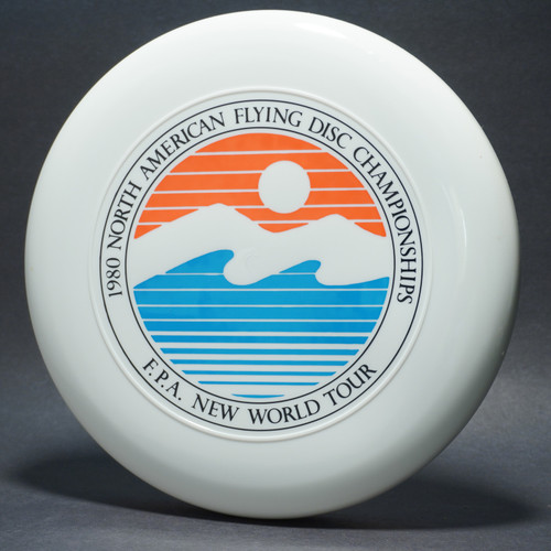 Sky-Styler FPA 1980 NA Flying Disc Championships White w/ Black Matte, Blue Matte, and Red Matte - TR - Top View