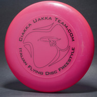 Sky-Styler Ciakka Uakka Team.com Italian Flying Disc Freestyle Bright Pink w/ Black Matte - T2000s - Top View