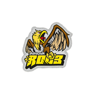 """A patch is shown that says """"Innova"""" in white and """"Roc3"""" in blocky yellow lettering with a brown and yellow bird sitting on top of the lettering."""