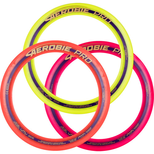 AEROBIE PRO FLYING RING 3 PACK. Top view of three rings, yellow, orange and red. They are overlapping each other with the red one on top.