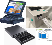 """15"""" Touch Screen POS Cash Register With Receipt Printer & Cash Drawer & Label Printer Inc POS Software"""