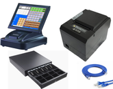 "15"" Touch Screen POS Cash Register With Receipt Printer &  Cash Drawer & Kitchen Printer  Inc POS Software"