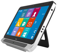 Tellus i5 with built-in EyeTech Digital Systems TM5 mini eye tracking camera and Amego Mind Express 4 document on the display.