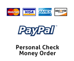 We accept payment by Paypal, Visa, Master Card American Express or Check