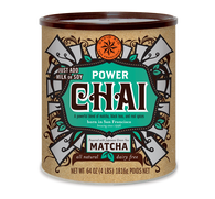 Power Chai with Matcha 1.816kg David Rio's (only completely) dairy-free, vegan chai is craft blended with black tea and Japanese matcha. Its rich and bold taste is enlivened with the traditional flavors of real chai spices including ginger, clove, cinnamon and cardamom. Powered with antioxidants from the matcha teas, it is delicately blended into a convenient mix that makes an excellent gift as well as a perfect daily cup. Simply mix with milk or milk substitute.
