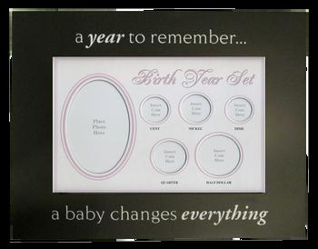 Birth Year Coin Set Frame Baby Girl Pink