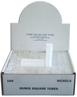 Numis Square Tubes for Nickels - Pack of 100