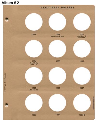 DANSCO Early Half Dollars Album 1794-1839 #6151 2 Volume Set