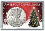 "Frosted 2"" x 3"" Case for American Silver Eagle Dollars: Christmas Tree"