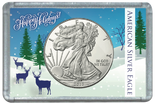 "Frosted 2"" x 3"" Case for American Silver Eagle Dollars: Deers in Snow -Happy Holidays"