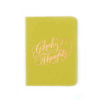 """Cheeky Thoughts"" Gold Foil Notebook, Chartreuse"
