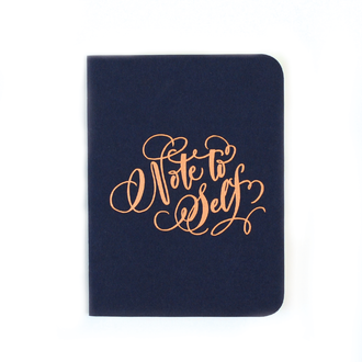 """Note to Self"" Gold Foil Notebook, Navy"