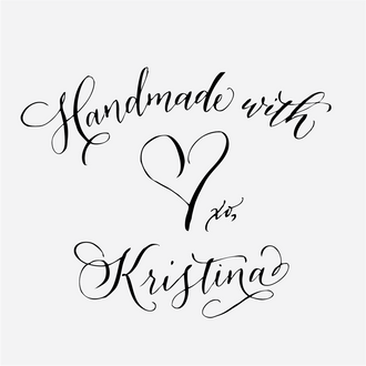 """""""Handmade by"""" Calligraphy Heart Rubber Stamp"""