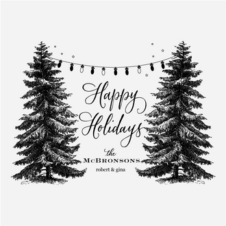 """""""Trees & Lights"""" Holiday Greetings Rubber Stamp"""