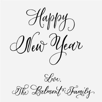 Custom Calligraphy Happy New Year Stamp