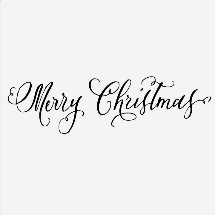 calligraphy merry christmas stamp