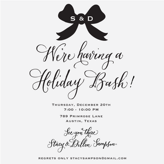 """Holiday Bow"" Invitation Rubber Stamp"