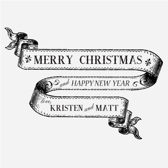 """""""Christmas Banner Greetings"""" Rubber Stamp"""