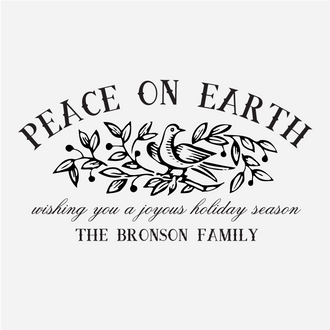 """""""Peace on Earth"""" Holdiay Greetings Rubber Stamp"""