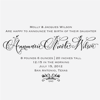 """Floral Calligraphy"" Birth Announcement Date Stamp"