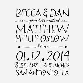 """Art Deco"" Birth Announcement Date Stamp"