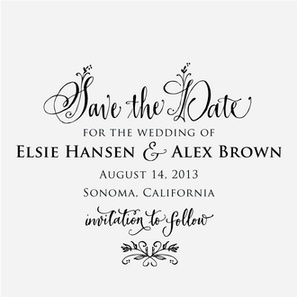 """Floral Calligraphy"" Save the Date Stamp"